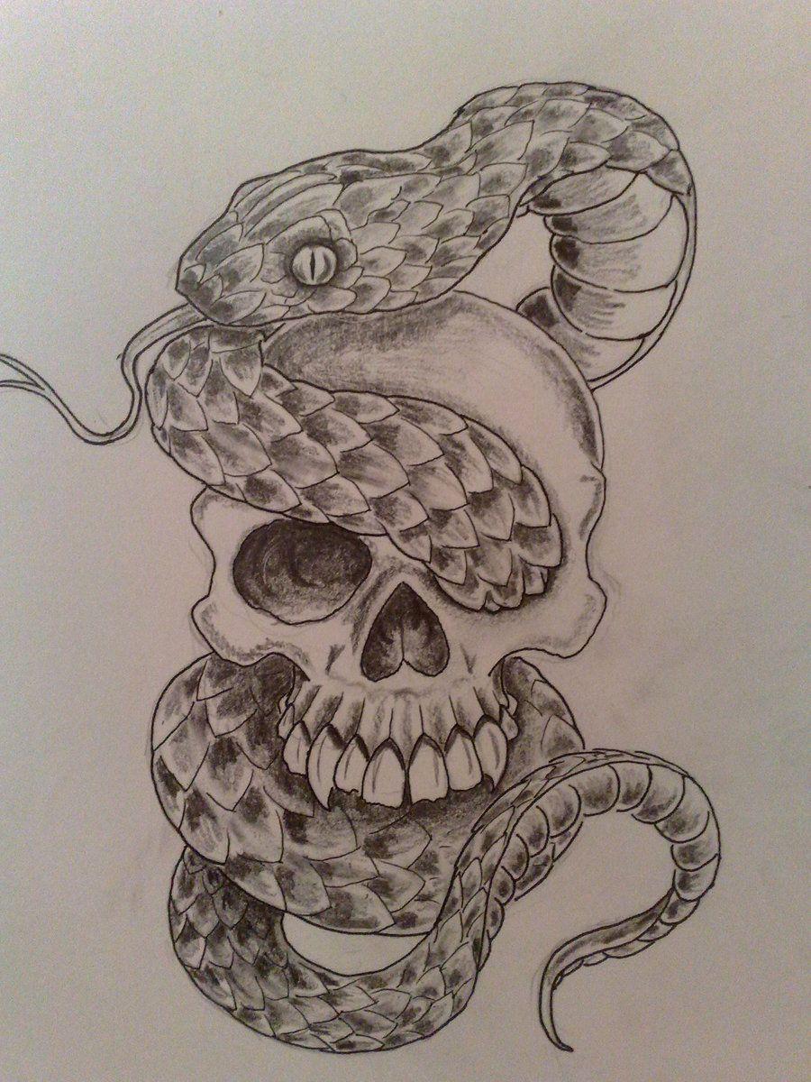 900x1200 grey ink skull and snake tattoo design.jpg (900×1200) hi