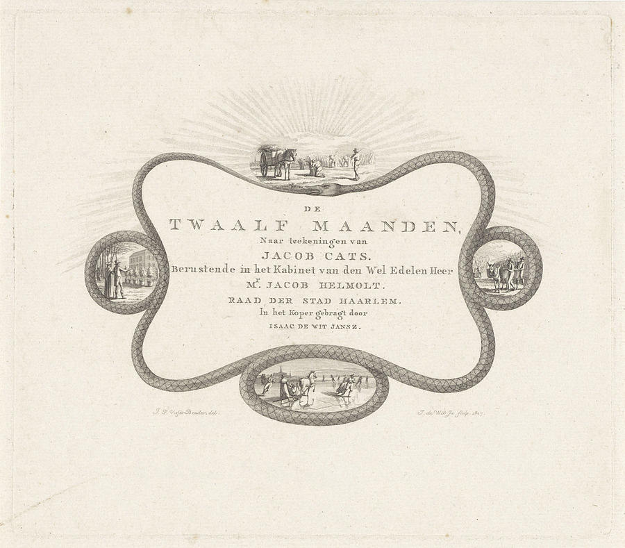 900x789 Cartouche Of A Snake Biting Drawing By Izaak Jansz. De Wit