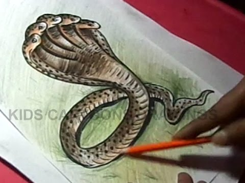 480x360 How to Draw five heads snake Detailed Drawing Step by Step