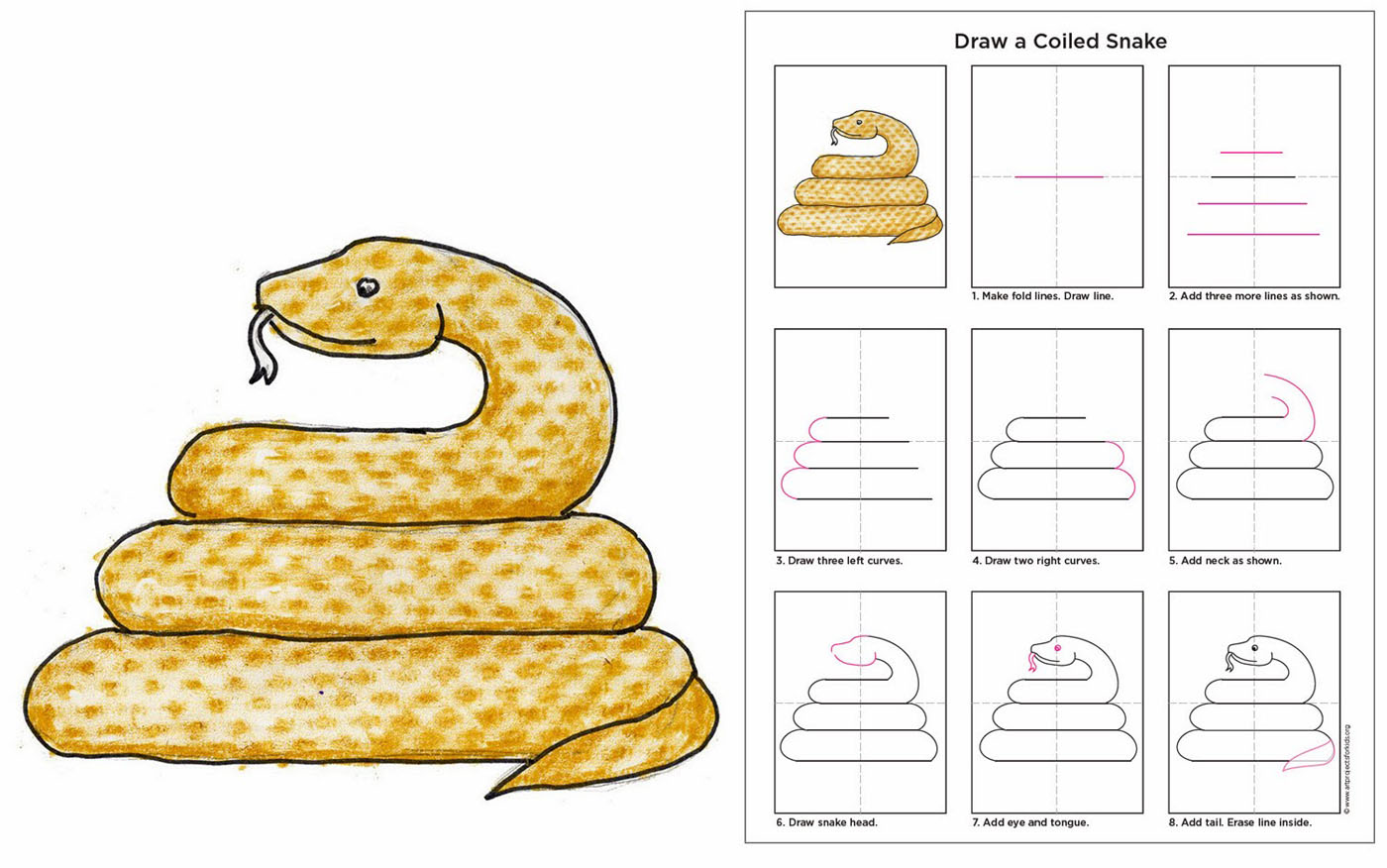 1400x876 Draw A Coiled Snake
