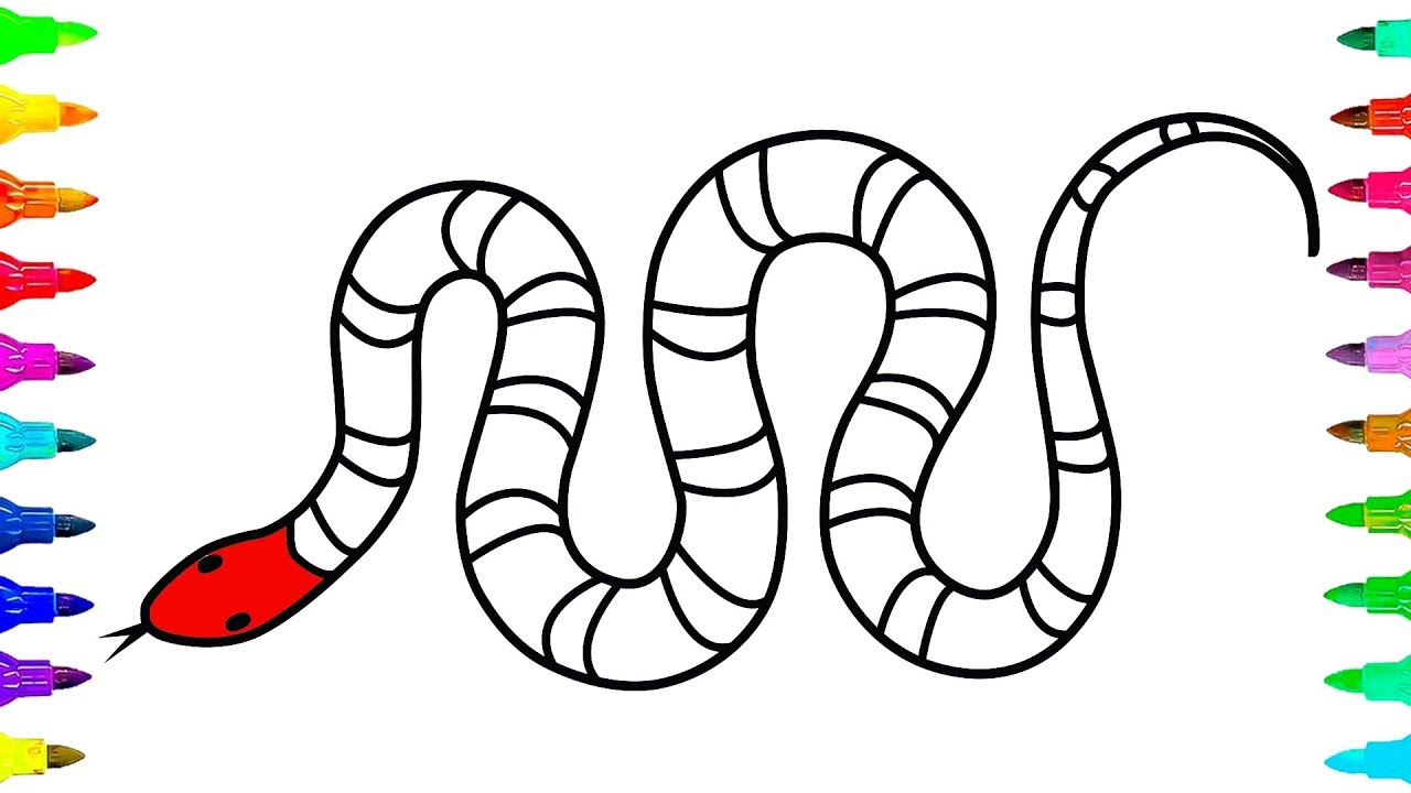 1280x720 How To Draw And Color A Snake For Kids Learn Colors For Kids