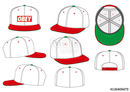 500x354 Obey Snapback Technical Drawing Flat Sketches Template Stock