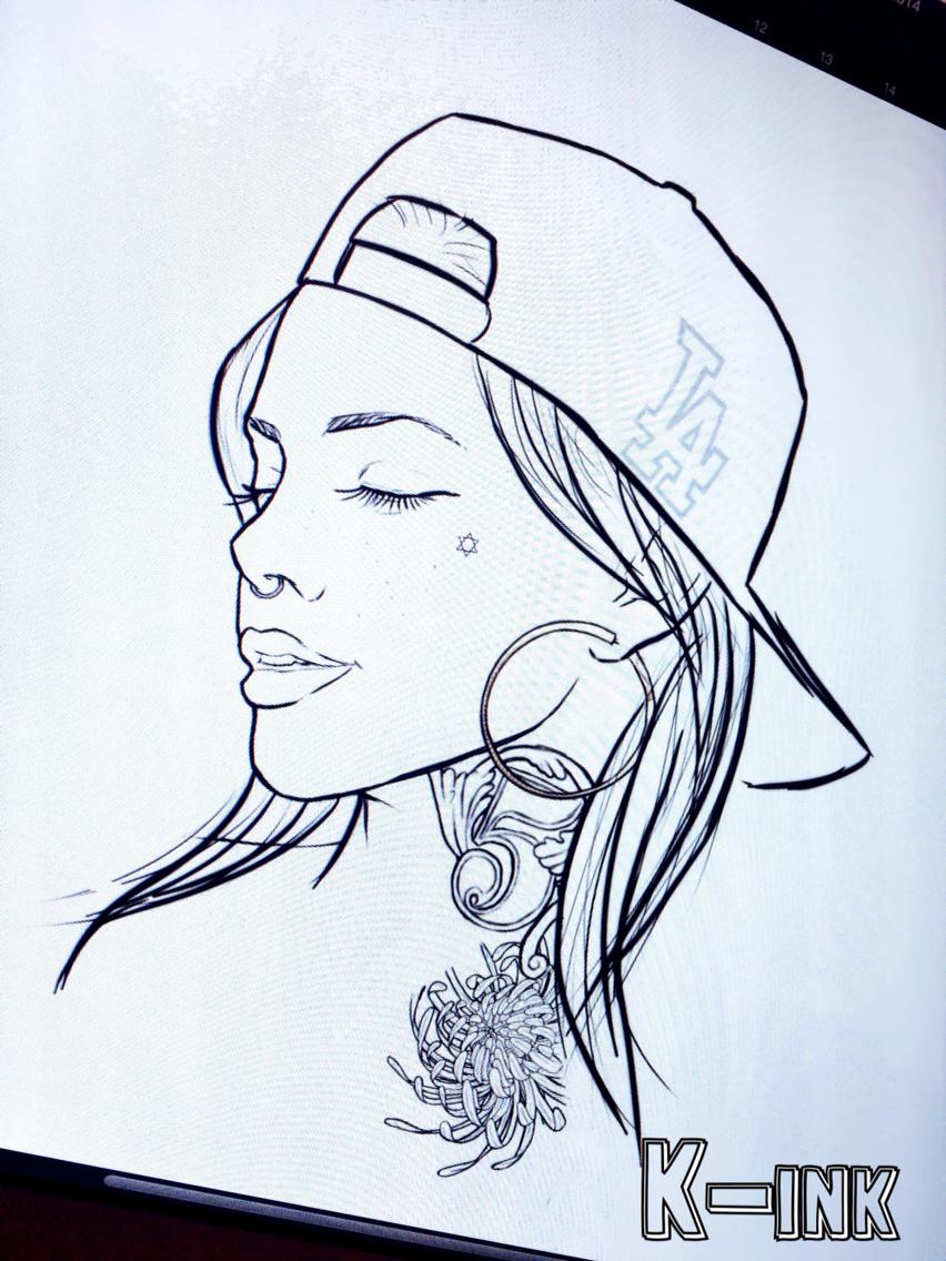 852x1136 Snapback Tattoo Girl