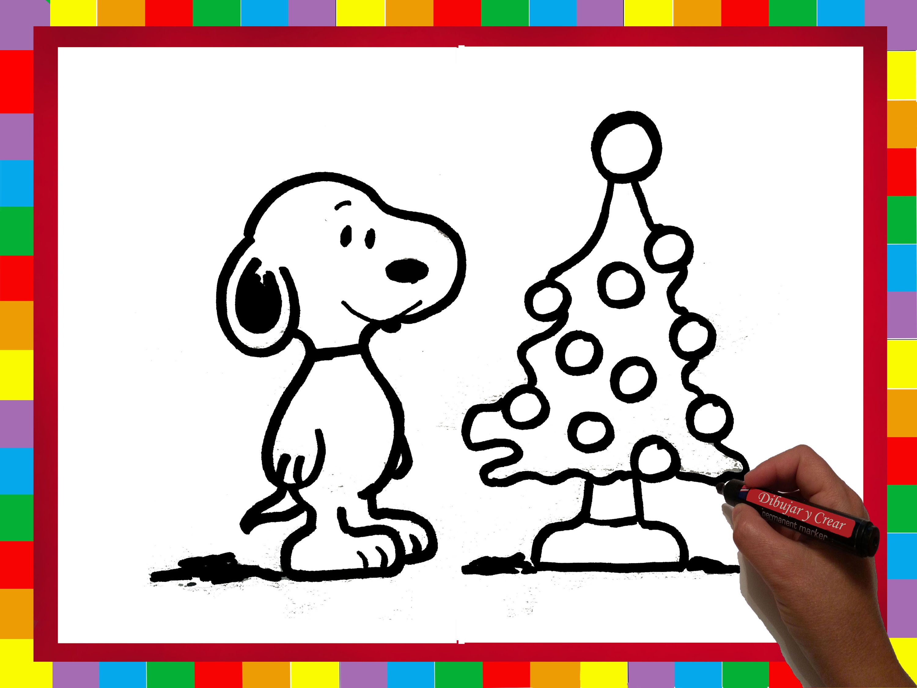3000x2250 How To Draw Snoopy And Christmas Tree (High Speed) (Velocidad