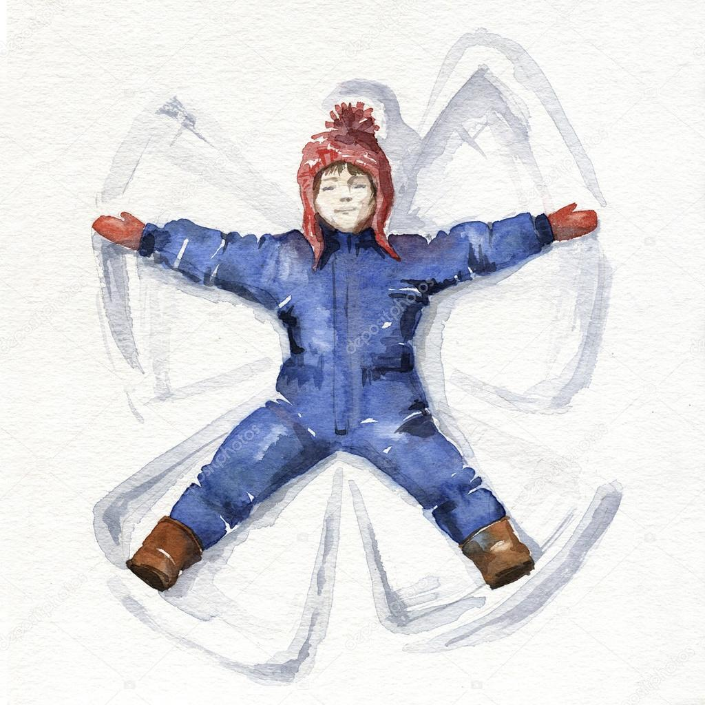 1024x1024 Little Girl Making A Snow Angel. Watercolor Illustration. Stock