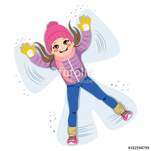 500x500 Sweet Young Girl Playing And Making Snow Angel Silhouette Stock