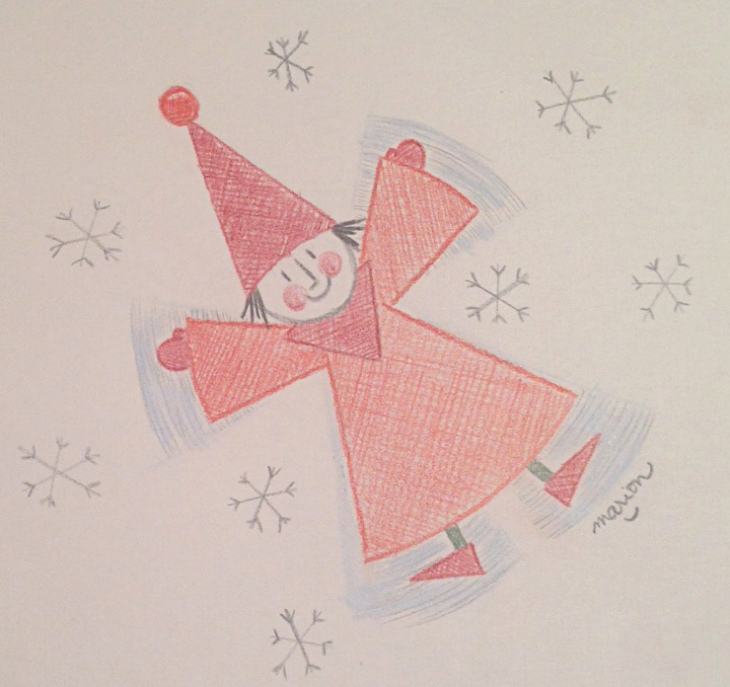 730x687 Snow Angel Colored Pencil Drawing By Marion On My Desk