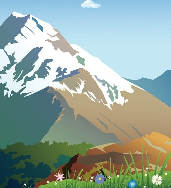 580x636 Free Forests And Snow Capped Mountains Illustration Vector 03