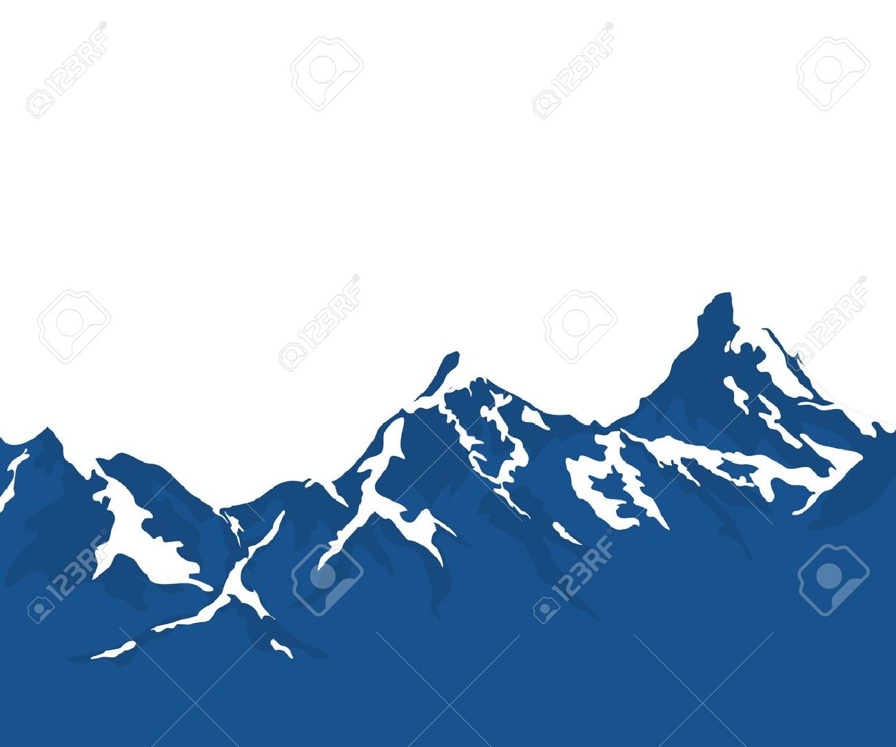 1300x1083 Snow Capped Mountains Isolated On White Background Royalty Free