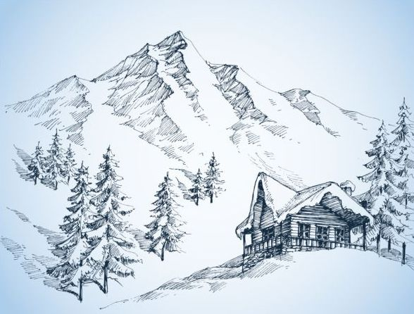 588x446 Snow Mountains Winter Landscape Hand Drawn Vector 02