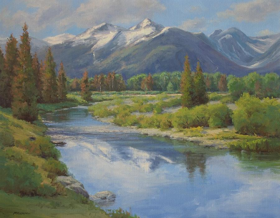 900x700 Summer Snow Capped Mountains Painting By Marianne Kuhn