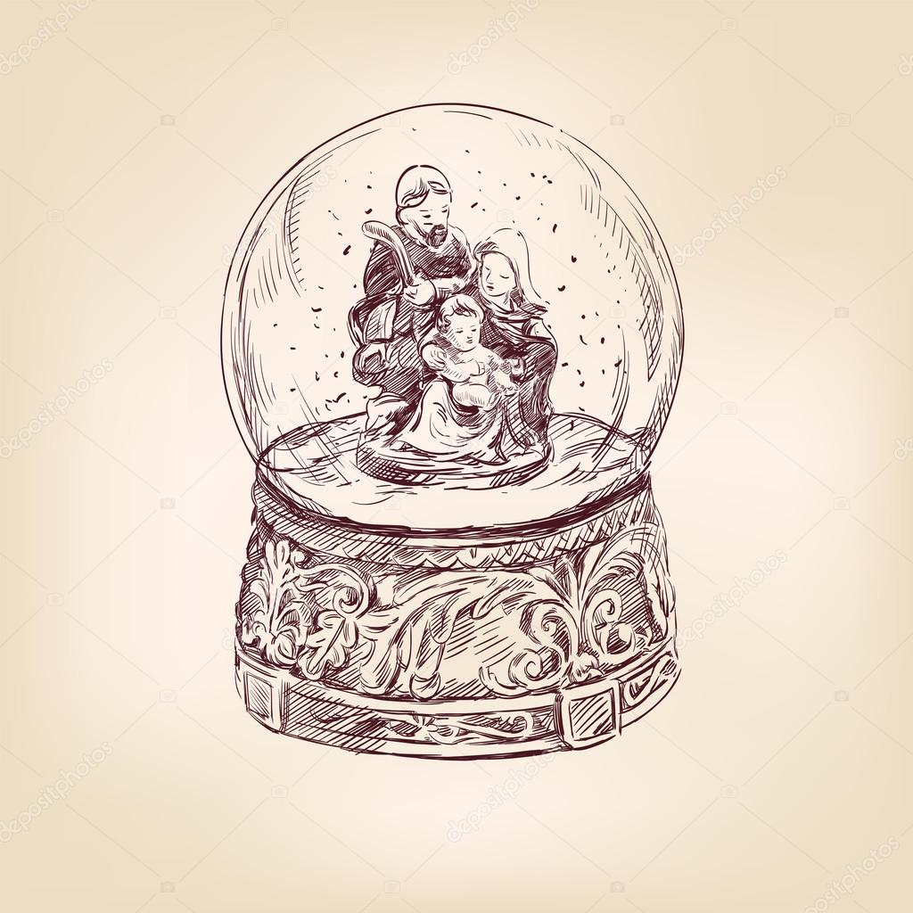 1024x1024 Christmas Snow Globe Hand Drawn Stock Vector Vladischern