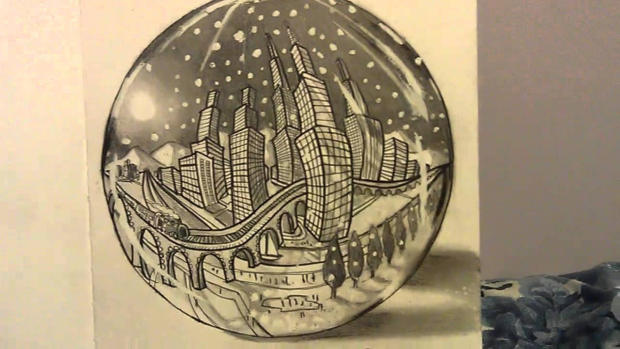 1280x720 City In A Snow Globe Drawing.