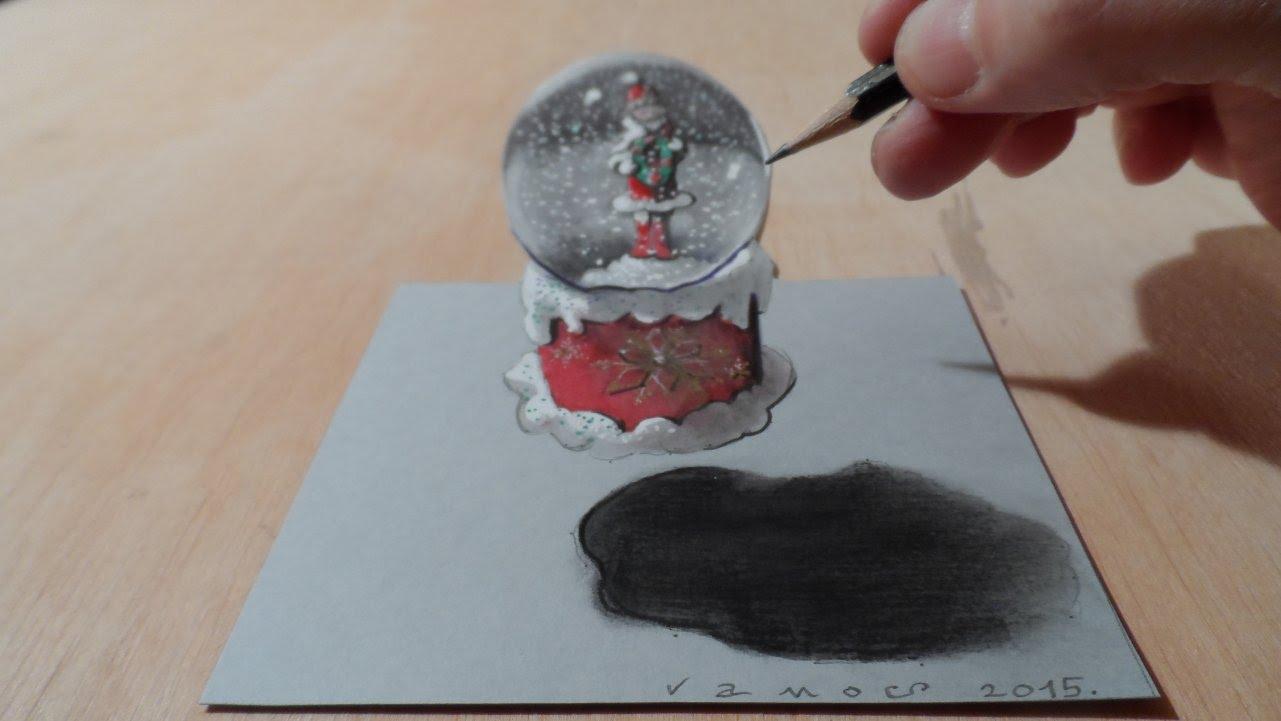 1281x721 Drawing A 3d Snow Globe, Levitating Illusion