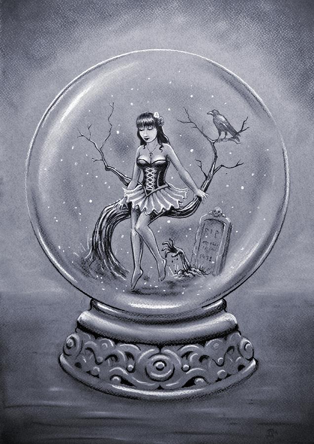 636x900 Gothic Snow Globe Drawing By Frank Franklin