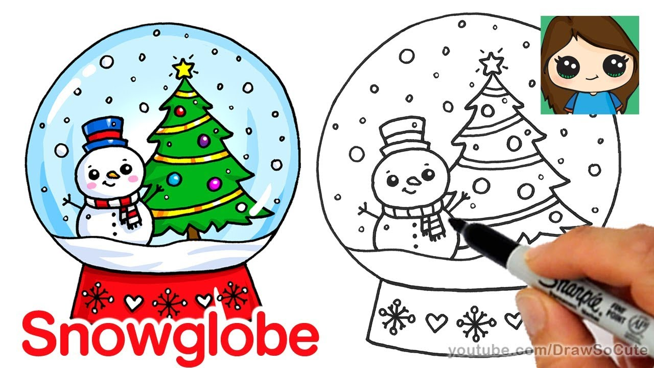1280x720 How To Draw A Christmas Snow Globe Cute And Easy