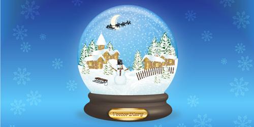 500x250 Premium Tutorial Vector Snow Globe