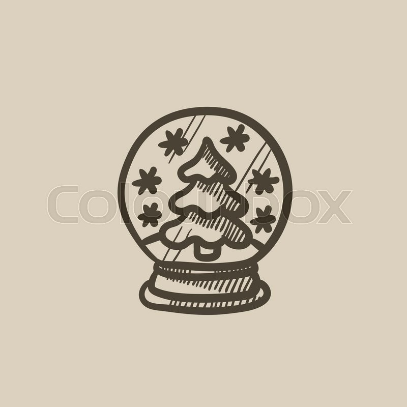 800x800 Snow Globe With Christmas Tree Vector Sketch Icon Isolated