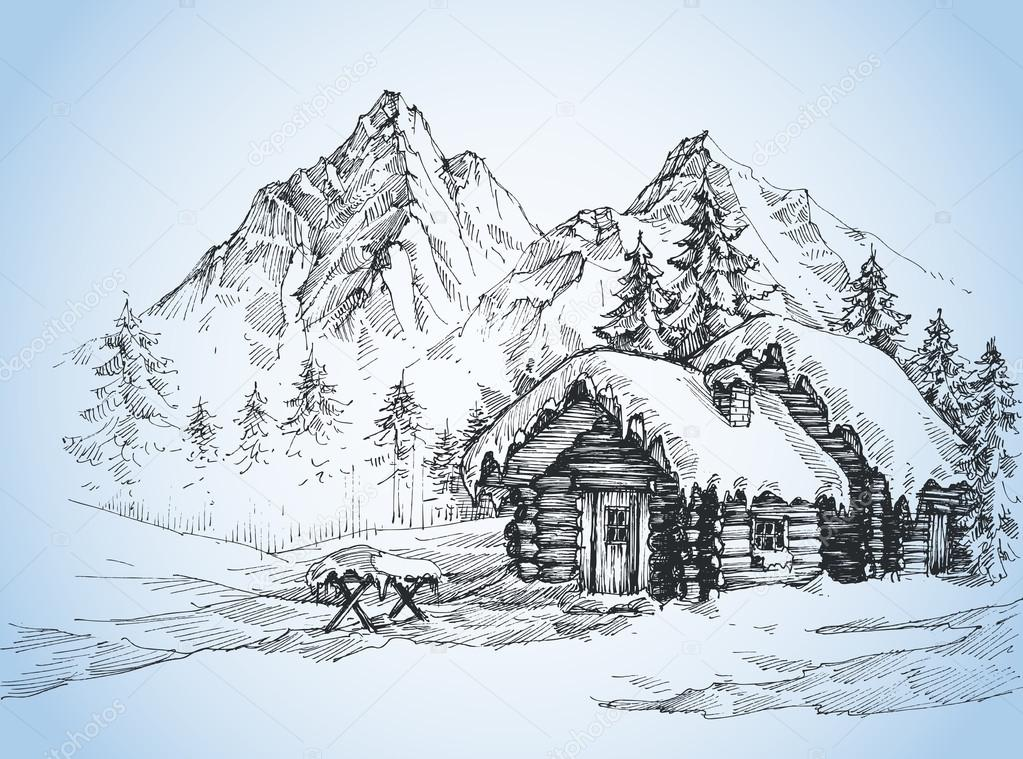 1023x759 Christmas Background, House In The Snow Landscape Stock Vector