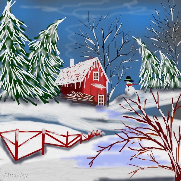 600x600 Winter World A Landscape Speedpaint Drawing By Sketchpad