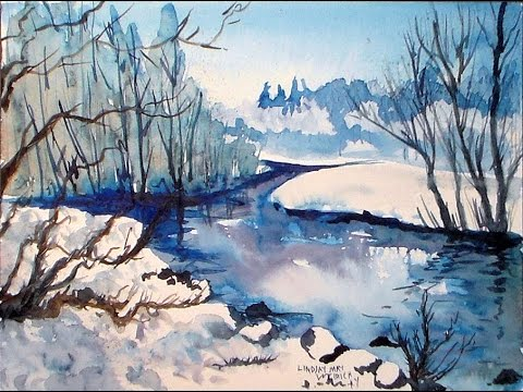 480x360 Icy Stream Winter Landscape In Blue