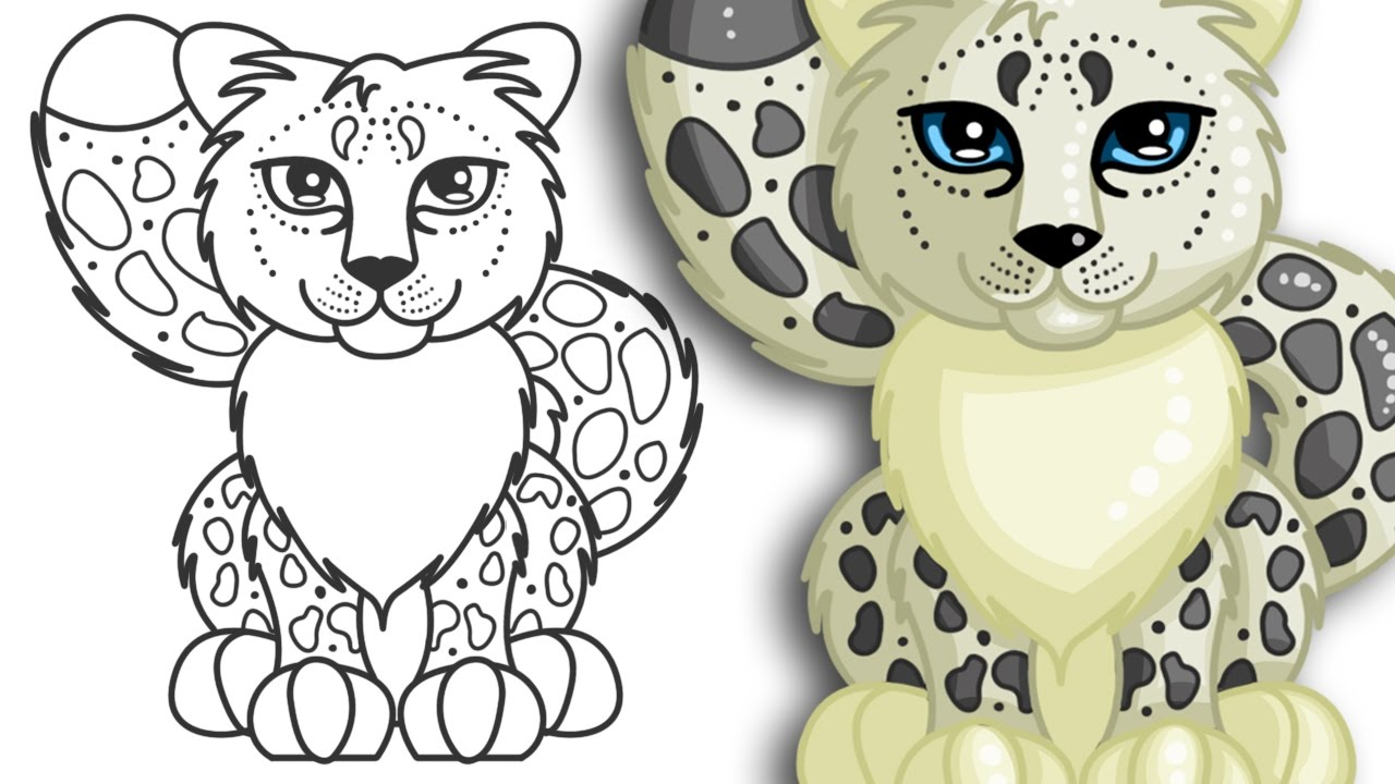1280x720 How To Draw A Snow Leopard Cute And Easy Step By Step Drawing