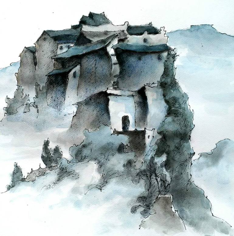 770x778 Saatchi Art Snow Mountain Temple Drawing By Luying Wang