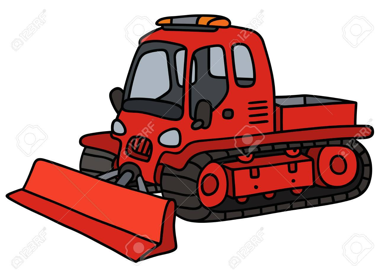 1300x910 Hand Drawing Of A Funny Red Tracked Snowplow Royalty Free Cliparts