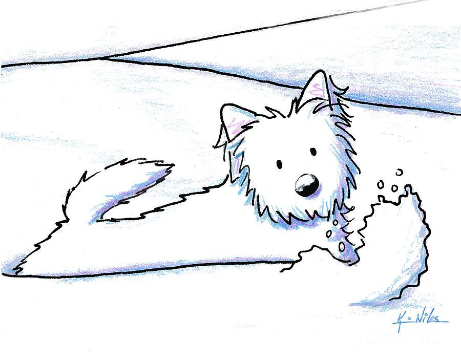900x707 Kiniart Westie Snow Plow Drawing By Kim Niles