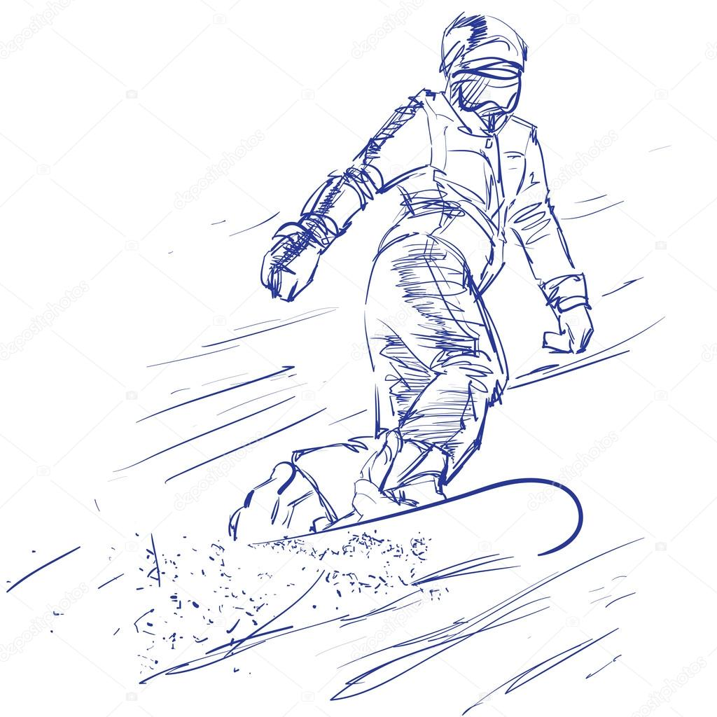 1024x1024 Hand Drawing Of A Snowboarder Stock Vector Mountelbrus