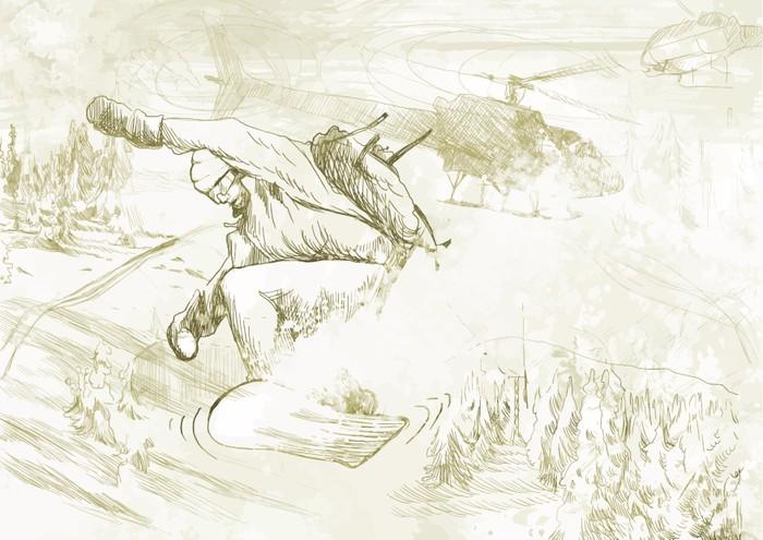 700x495 Paramedic Snowboarding (Drawing Converted Into Vector) Wall Mural