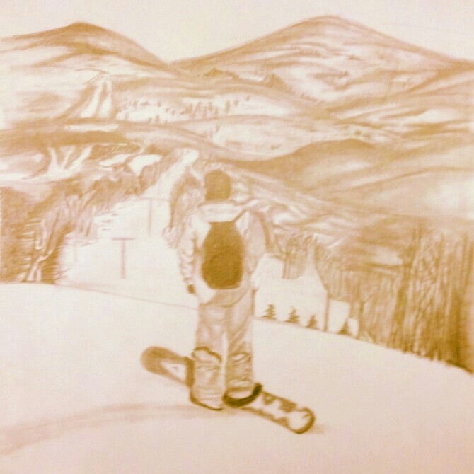 670x670 Snowboarding Mountain Scene Drawing Drawing And Tattoo Ideas