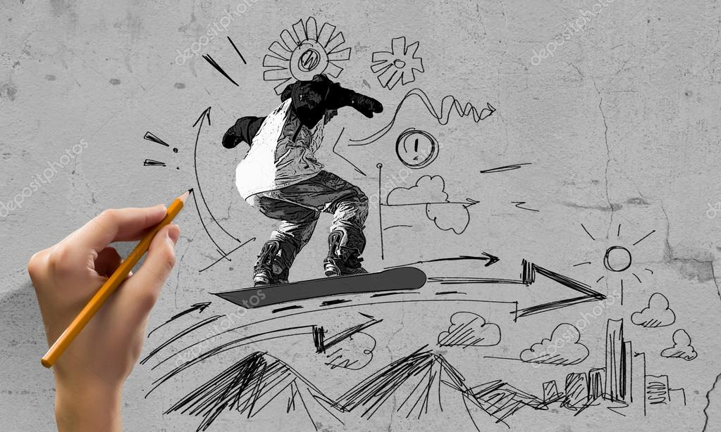 1023x614 Snowboarding Sketch Stock Photo Sergeynivens
