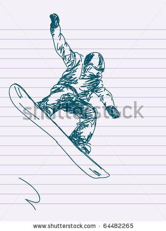 338x470 Stock Vector Hand Drawn Snowboarding Vector. Visit My Portfolio