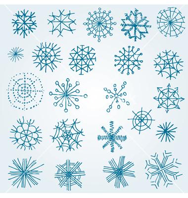 380x400 Hand Drawn Snowflakes Vector 660123