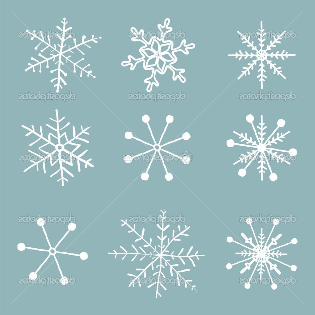 1024x1024 Snowflakes Drawing Realistic Simple Snowflake Drawing Set