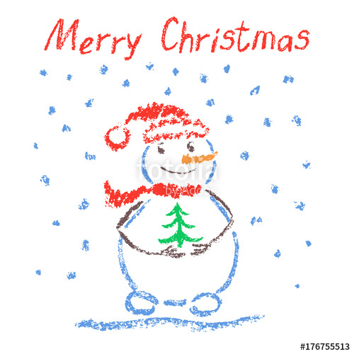 500x500 Crayon Like Child's Drawing Merry Christmas Funny Smiling Snowman