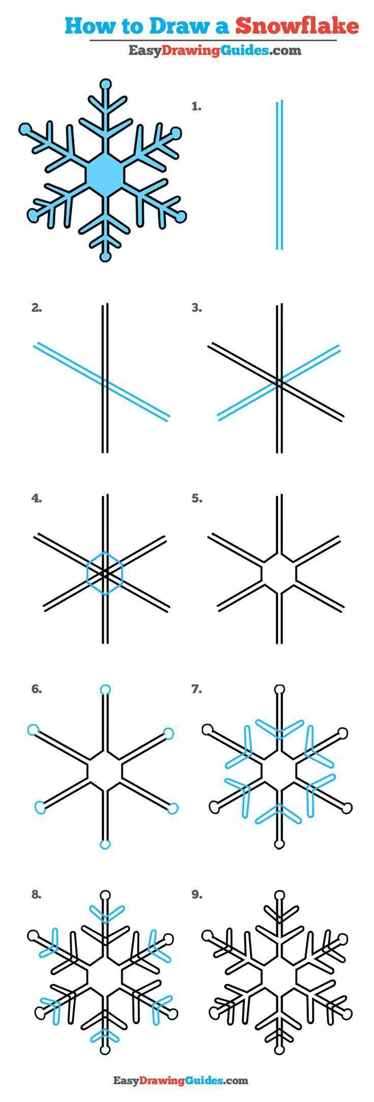 736x2167 How To Draw A Snowflake