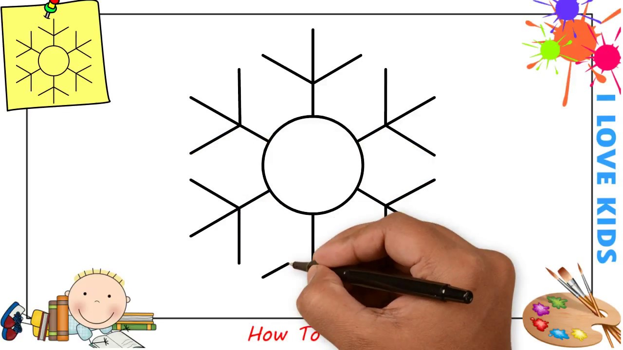 1280x720 How To Draw A Snowflake (Christmas) Easy Step By Step For Kids