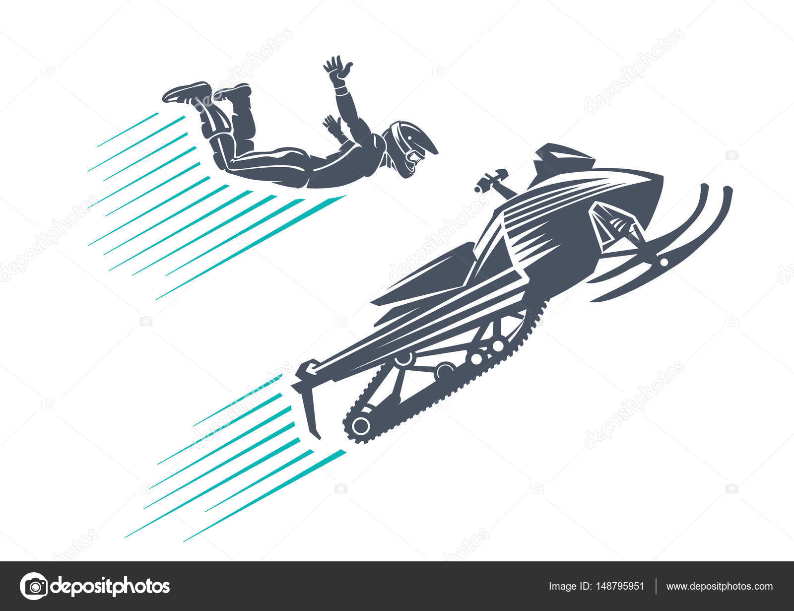 1600x1231 Extreme Winter Sport. Snowmobile Jumping Stock Vector