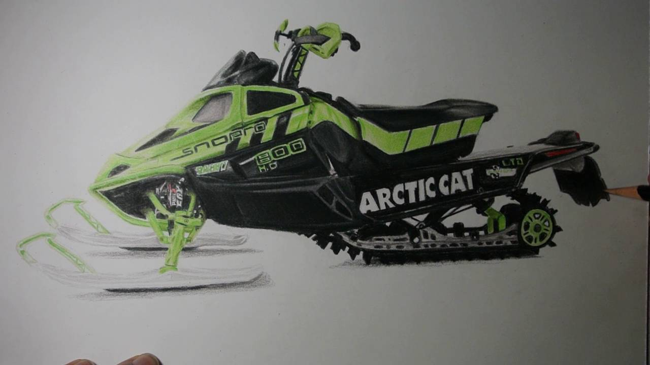 1280x720 Realistic Snowmobile Drawing
