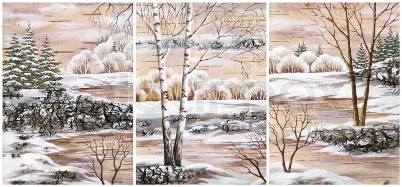 800x373 Pictures, Set Winter Natural Landscapes Hand Draw, Distemper On