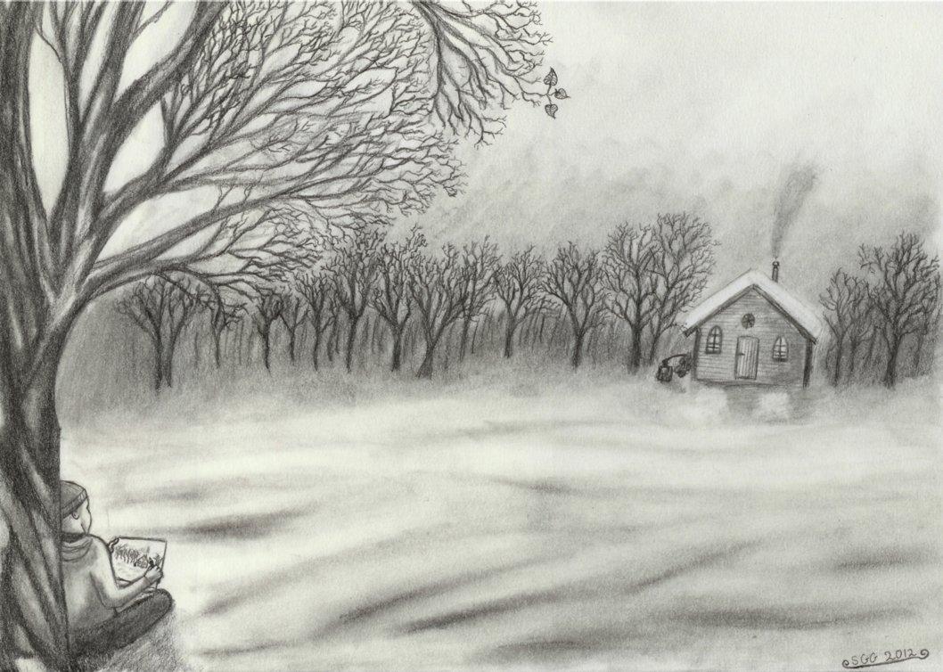 1058x754 Snowy Landscape Drawing