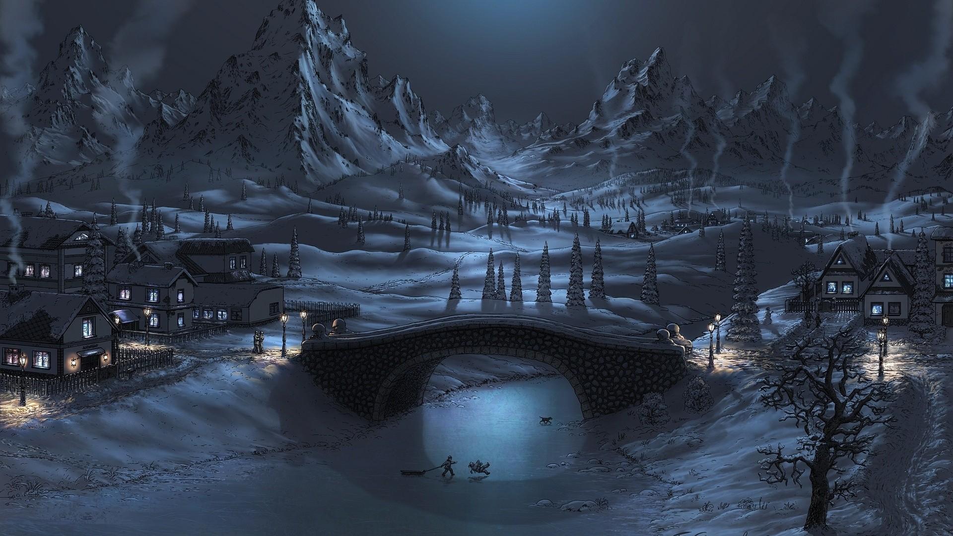 1920x1080 Snowy Landscape Drawing Snowy Landscape Drawing (1920x1080