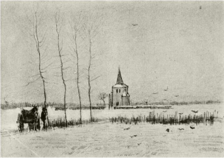 750x530 Snowy Landscape With The Old Tower By Vincent Van Gogh