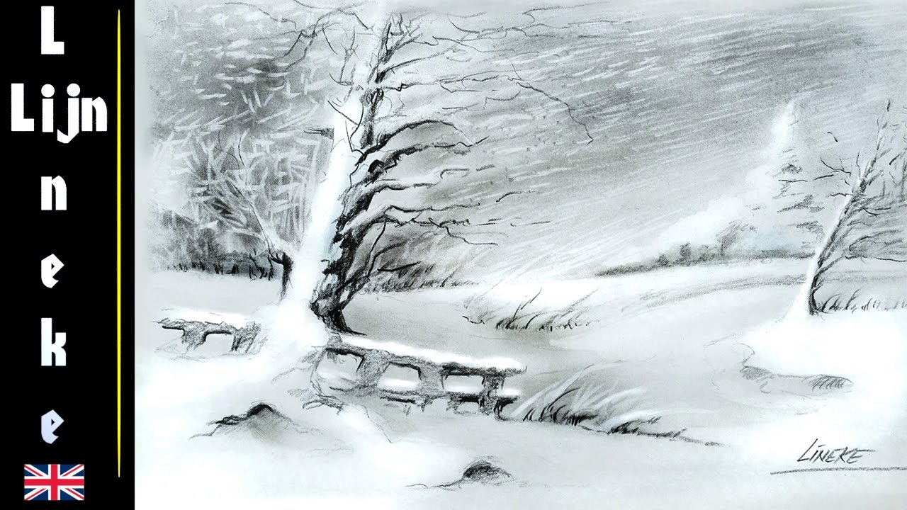1280x720 Very Easy! How To Draw A Snow Landscape In Charcoal