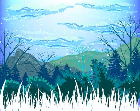 461x368 Winter Landscape Drawing Free Vector Download (91,837 Free Vector