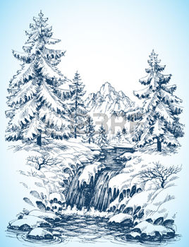 268x350 Drawing Winter Snowy Landscape, Pine Forest And River In