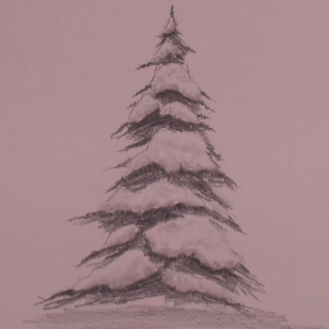 Snowy Tree Drawing at GetDrawings | Free download
