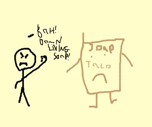 300x250 Bald Man Hates Living Taco Soap Bar (Drawing By Bennings)